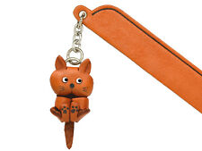 Playing Cat Plain Leather Charm Bookmarker *VANCA* Made in Japan #61411