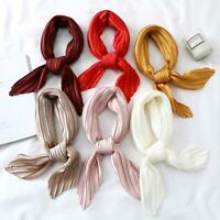 Women Fashion Neck Scarf Solid Pleated Stretchy Square NicCrinkle Satin Neckwear