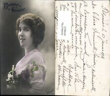 459831,Frau Haarschmuck Edwardian Girl Fashion Mode Photo Postcard