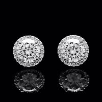 1.50CT Brilliant Round Created Diamond Halo Stud Earrings 925 Sterling Silver