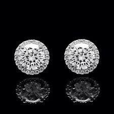 1.50CT Brilliant Round Created Diamond Halo Stud Earrings 14k Solid White Gold