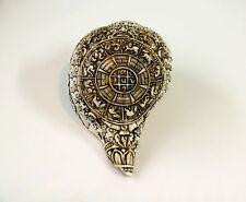 "Horoscope Calendar Conch Shell Sankha 7"" H x 13.5"" C Hand Carved Nepal"
