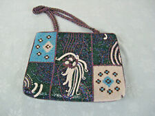 """Beautiful Fully Beaded Hand Bag 12"""" W. & 9"""" Top To Bottom 10"""" Straps"""