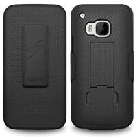 AMZER SHELLSTER SHELL BLACK CASE BELT CLIP HOLSTER COVER FOR HTC ONE M9