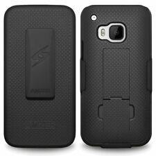 AMZER SHELLSTER SHELL BLACK CASE BELT CLIP HOLSTER COVER FOR HTC ONE M9