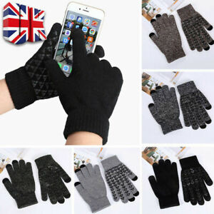 Womens Knitted Wool Thermal Gloves Ladies Winter Touch Screen AntiSlip Gloves UK