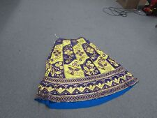 Vintage Antique Ethnic Embroidery & Patchwork Skirt Dress Purple / Yellow Gypsy
