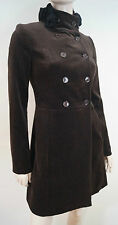BLUGIRL BLUMARINE Brown Cotton Stretch Black Floral Neck Felt Jacket Coat I38