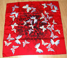 "LARGE vintage BVLGARI red blue silk jeweled pearl BUTTERFLY scarf 34"" square NEW"