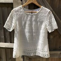 The White Company White Label Lace Shell Top Size 10 VGC