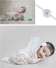 Newborn Baby White Lace Cocoon Swaddle Wrap Blanket + Headband Photography Prop