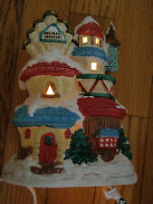 Porcelaine 3 story Music Shop Lamp house with Pine Trees