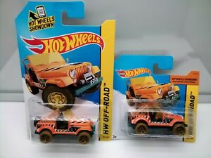 Hot Wheels Treasure Hunt / Jeep CJ7 - Orange - Long & Short Card - Model Cars x2