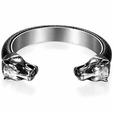 Men's Elastic Stainless Steel Black Leather Wolf Head Open Cuff Bangle Bracelet