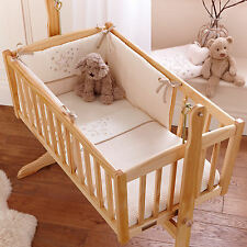 NEW CLAIR DE LUNE CREAM STARDUST ROCKING CRIB 2 PIECE QUILT & BUMPER GIFT SET