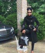 Mint Designer Mackage Full length Black wool, cashmere, Shearling Fur Coat S 0-4