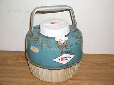 VINTAGE COLEMAN ONE GALLON BLUE-GREEN METAL AND PLASTIC WATER JUG