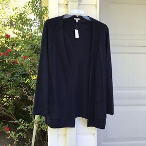 NWT Talbots Pretty Navy Blue Open Front 100% Cotton Cardigan Pockets 1X 16W