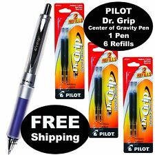 Pilot Dr. Grip Center of Gravity Pen, Blue Grip, Black Ink With 3 Pk of Refills
