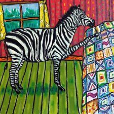 Zebra art tile coaster ceramic gift Jschmetz modern folk quilting quilt