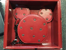 Nib Le Coach Minnie Mouse Leather Coin Purse Wallet Case Red Sold Out