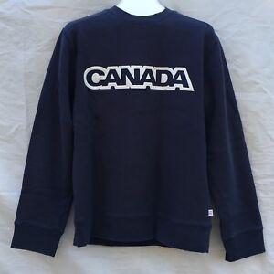 HBC Canada 2006 Olympic Sweatshirt Mens Medium M Crewneck Logo Fleece Blue