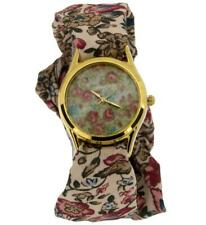Ladies Self-Tie Yellow Goldtone Brown & Pink Flower Ribbon Fashion Watch SW-1244