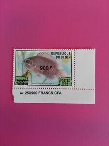 Bénin surchargé overprint 900f sur 300f neuf MNH poisson marge RARE