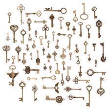 Set Of 70 Vintage Antique Old Look Bronze Skeleton Keys Fancy Heart Bow Pendants