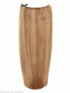 """20"""" 6/8 Light Brown Chestnut Mix Halo 100% Indian Remy Human Hair Extensions"""