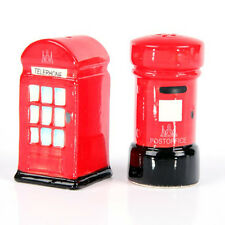 London Post & Telephone Box Ceramic Salt & Pepper Shaker Pots Set Novelty LON03