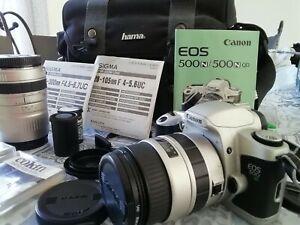 Canon Eos 500n appareil photo argentique 2 objectifs et pochette excellent État