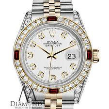 Mujer Rolex SS & Oro 31mm Datejust Reloj Diamante Blanco Detalle Esfera & Rubí