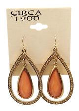 "CIRCA 1900 JEWELRY Goldtone Tear Drop with Orange Crystals Dangle Earrings 2"""