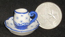 Dollhouse Miniature Pitcher & Wash Basin 1:12 Bath Mexican Puebla Blue #9764