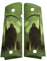 Custom Full Size 1911 Grips Ambidextrous Grim Reaper on Green Colt Kimber etc.