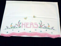 Vintage Embroidered HERS Pillowcase PINK Crochet Edge flowers & butterflies
