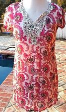 INDIAN HIPPY CHIC Summer Beach Tunic Mini Dress Pink Sequins Beading Size M