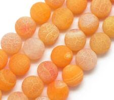 Edelsteine Achat Perlen 8mm Matt Naturstein Gelb Orange Schmuck Basteln R316