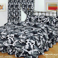 DOUBLE BED DUVET COVER SET CAMOUFLAGE BLACK GREY WHITE ARMY MILITARY URBAN