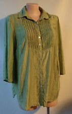 Mirrors green shirt top plus size 16 3/4 sleeve