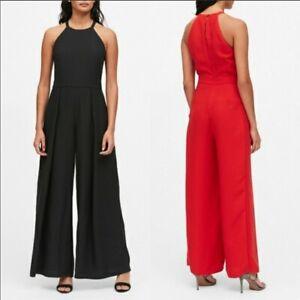 NWT $139 Banana Republic Women's Black Halter Neck Wide-Leg Jumpsuit Sz 4