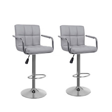 2x Breakfast Bar Kitchen Stools Faux Leather Stool Chair Barstools Gas Lift Gray