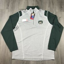 OHIO UNIVERSITY Bobcat 1/4 Zip Pullover Antigua Green Mens Large New With Tags