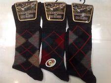 3 Pairs Men's Lambs Wool Non Elastic Argyle Socks Size 6-11
