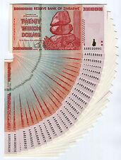 Zimbabwe 20 Trillion Dollars x 25 pcs AA 2008 P89 consecutive UNC currency bills