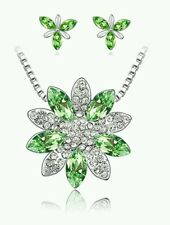 CRYSTAL NECKLACE AND EARRING SET GREEN flower wedding birthday bridesmaids 0772