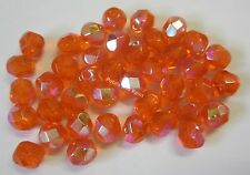 40 Fire Polished 6mm Faceted Glass Beads Gutermann Czech Bead Orange AB 3570