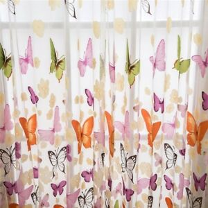 Butterfly Voile Curtain With Matching Kitchen Blind Cafe Net Curtains  Valance#S