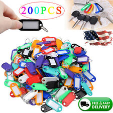 200X Plastic Key Assorted Tags Rings ID Luggage Label Name Car Key ring 8 Colors